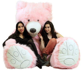 Your Custom Personalized Message on American Made Giant 9 Foot Teddy Bear Soft 108 Inches Pink Made in USA