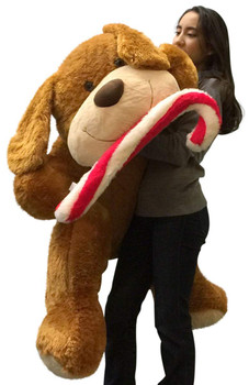 Christmas Giant Stuffed Dog 5 Foot Soft with Plush Candy Cane, 60 Inch Plush Puppy