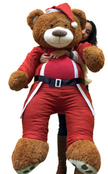 Giant Christmas Teddy Bear 60 Inch Soft, Wears Santa Claus Suit 5 Foot Xmas Teddybear Brown