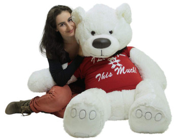 5ft Giant White Teddy Bear Soft 60 Inches, Wears Removable T-shirt I LOVE YOU THIS MUCH