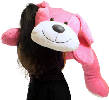 Giant Stuffed Pink Dog 5 Foot Big Plush Puppy Soft 60 Inch Snuggle Buddy Made in USA