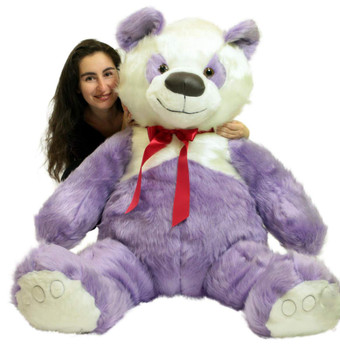 American Made Giant Stuffed Purple Panda Bear 60 Inch Soft 5 Foot Teddybear Made in USA