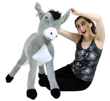 Big Plush Donkey 42 Inch Giant Stuffed Animal Silky Soft Fur