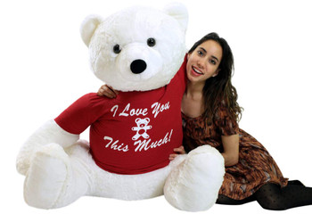 I Love You This Much Life Size Stuffed White Teddy Bear,  3 Feet Tall and 3 Feet Wide