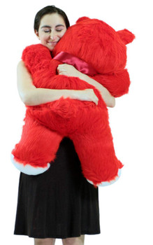 Jumbo 3 Foot Red Teddy Bear 36 Inch Soft Big Plush Cuddle Buddy Made in USA