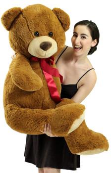 Big Plush 4 Foot Teddy Bear Extra Soft 48 inch Honey Brown Jumbo Stuffed Animal