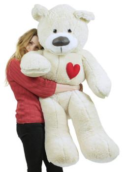5ft white teddy bear with heart on chest to express love