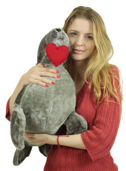 Big Plush Sea Lion With Heart In Mouth to Express Love, 30 Inch Soft Jumbo Stuffed Animal