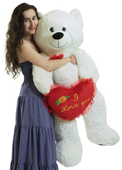Giant White Teddy Bear 52 Inch Soft Big Plush Bear Holds I Love You Heart Pillow