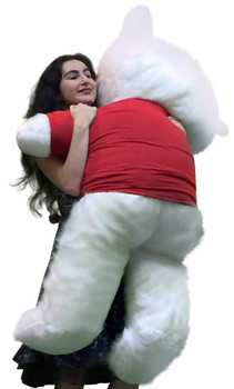 American Made Giant White Teddy Bear 54 inch Soft Wears Removable Tshirt HE LOVES ME