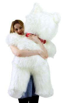 American Made Giant White Teddy Bear 46 inch Soft Big Plush Valentines Day Stuffed Animal