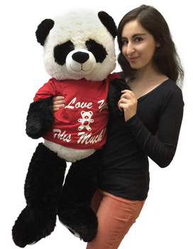 Big stuffed panda bear 36 inches tall wears I Love You This Much T-shirt