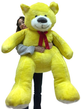American Made 5 Foot Yellow Teddy Bear Soft Big Plush 60 Inch Large Stuffed Animal Made in USA