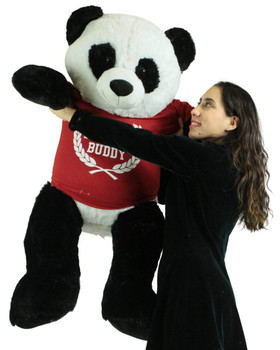 Giant Stuffed Panda 48 Inch Soft 4 Foot Teddy Bear, Wears  Tshirt Official Snuggle Buddy