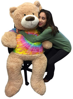 Big Plush Giant Teddy Bear 5 Feet Tall Wears Removable Tie Dye T-shirt, Soft Smiling Big Teddybear 5 Foot Bear Ultra Premium Quality