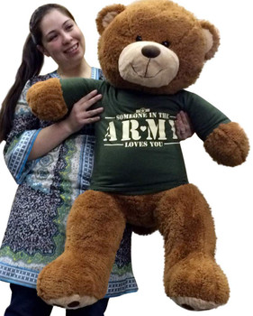 Big Plush 36 inch Romantic Teddy Bear Wearing Tshirt That Says SOMEBODY IN THE ARMY LOVES YOU