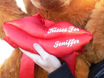Add Custom Personalized Red Satin LIPS - WE WILL ATTACH IT TO YOUR STUFFED ANIMAL