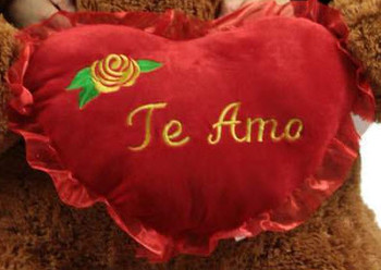 It's FREE to ADD A BIG PLUSH Spanish Language TE AMO HEART WITH YELLOW ROSE - WE WILL ATTACH IT TO YOUR STUFFED ANIMAL (NO Personalization)