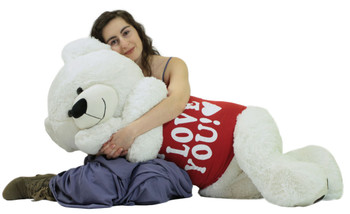 Giant Teddy Bear 52 Inch White Soft, Wears Removable T-shirt I Love You