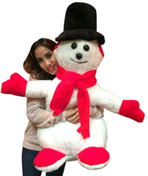 Big Plush American Made Giant Stuffed Snowman 3 feet Tall Soft Christmas Plushie Non-Smoking NO Pipe