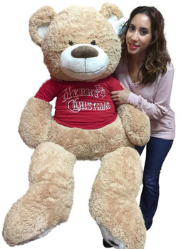 5 Foot TanTeddy Bear Wears Removable Red Tshirt that says Merry Christmas