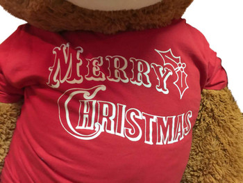 5 Foot Honey Brown Teddy Bear Wears Removable Red Tshirt that says Merry Christmas