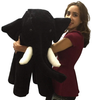 American Made Big Plush Black Elephant 36 Inches Soft Giant Stuffed Animal