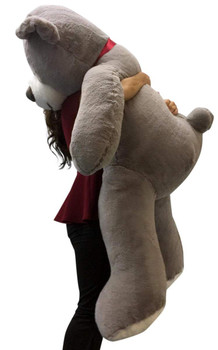 Big Plush 5 Foot Giant Teddy Bear Soft Gray Color Huge Stuffed Animal