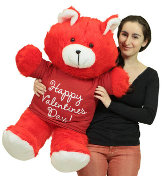 Happy Valentines Day Giant Red 36 inch Teddy Bear Soft, Wears Removable T-Shirt to Celebrate Vday