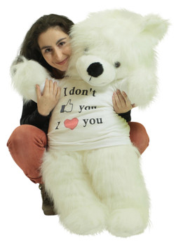 Giant White Teddy Bear Soft 36 inches, Wears Removable T-Shirt to Celebrate Romance I Dont Like You I Love You