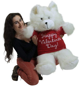 Happy Valentines Day Giant White 36 inch Teddy Bear Soft, Wears Removable T-Shirt to Celebrate Vday