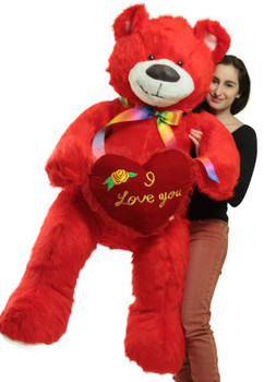 Giant size red color teddy bear holding I Love You heart pillow