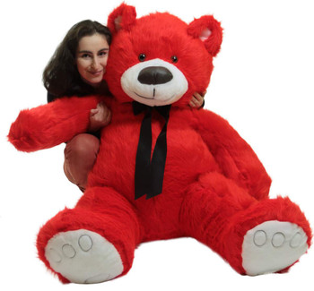 Giant red teddy bear is 5 feet tall and is made in the USA