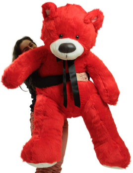 Giant 5 Foot Red Teddy Bear, Big Plush Soft Stuffed Animal Made in America