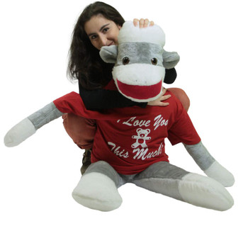 Big Plush Giant Valentine Sock Monkey 54 Inches Soft, Wears Removable T-shirt I LOVE YOU THIS MUCH