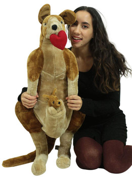 Big Plush Stuffed Valentine Kangaroo With Baby, Has Heart Pillow in Mouth,  Soft 3 Foot Giant Stuffed Animal