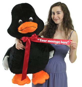 Personalized Giant Stuffed Black Duck 36 Inches Soft American Made 3 Foot Plush Animal
