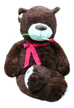 Big Plush Valentine's Day 5 Foot Teddy Bear with Rose, Soft Brown 60 Inch Snuggle Buddy