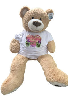 Mothers Day 5 Foot Giant Teddy Bear, Wears Removable T-shirt that says Worlds Greatest Mom