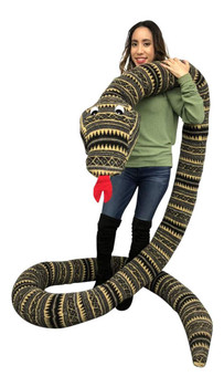 American Made 18 Foot Giant Stuffed Snake 216 Inches Long, Soft Desert Green Stripe Big Plush Serpent