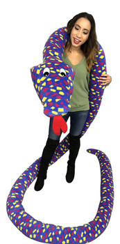 American Made 18 Foot Giant Stuffed Snake 216 Inches Soft, Polka Dot Blue Yellow Red Big Plush Serpent
