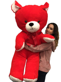 Giant Red Teddy Bear, 59 Inches Big Plush Soft Huge Stuffed Animal Weighs 18 Pounds Made in USA