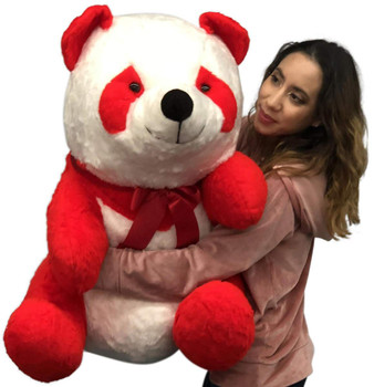 American Made Red and White Giant Stuffed Panda 34 Inch Jumbo Soft Plush Bear Made in USA America