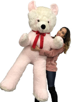 Big Plush Pink and White Stuffed Panda Bear, Giant 6 Foot Teddy Bear Huge Soft Plush Animal Made in USA