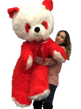 Big Plush Red and White Stuffed Panda Bear, Giant 6 Foot Teddy Bear Huge Soft Plush Animal Made in USA, Valentine Big Bear