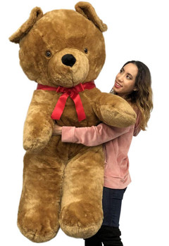 Big Plush Giant Brown Teddy Bear, 54 Inches Soft Stuffed Animal Huge Weighs 18 Pounds Made in USA