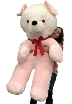 Big Plush Pink Stuffed Panda Bear, Giant 54 Inches Tall Teddy Bear Huge Soft Plush Animal Made in USA