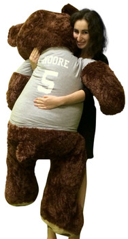 Customized T-shirt on Big Plush 5 Foot Brown Teddy Bear, Shirt is Custom Imprinted with Your Text