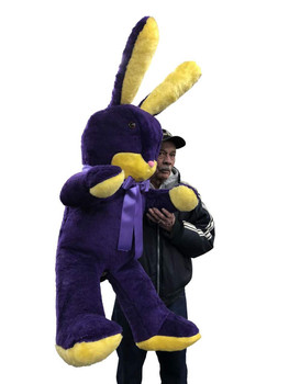 American Made Giant Stuffed Bunny 60 Inch Soft Big Plush 5 Foot Rabbit Purple and Yellow Made in USA