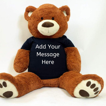 Personalized Big Plush 5 Foot Giant Brown Teddy Bear Wearing Customized Black T-Shirt with Your Message